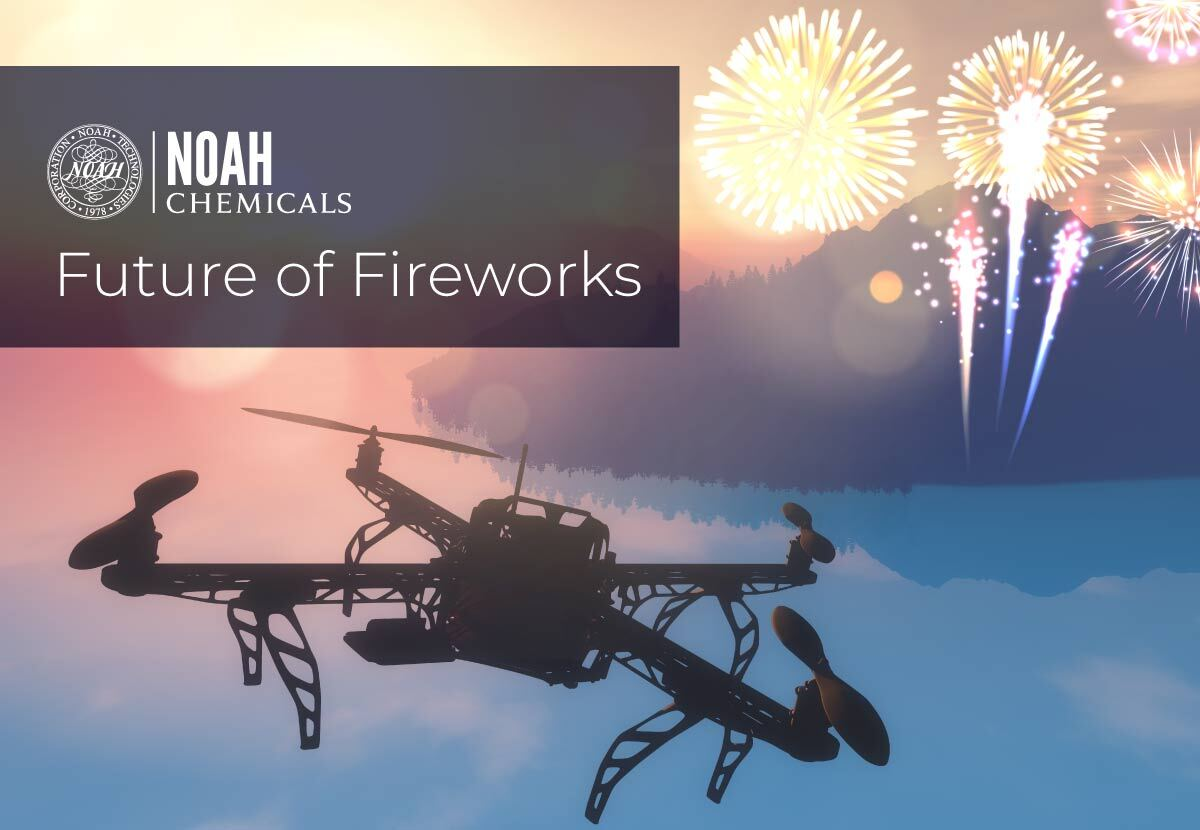drone flying in the sky near a fireworks show